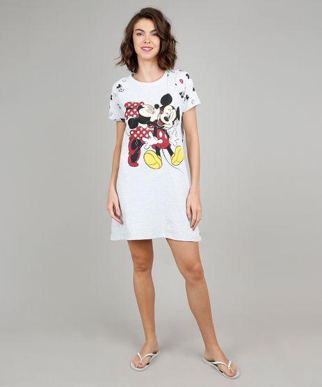 Camisola-Feminina-Mickey-e-Minnie-Estampada-Manga-Curta-Cinza-Mescla-Claro-9547558-Cinza_Mescla_Claro_1