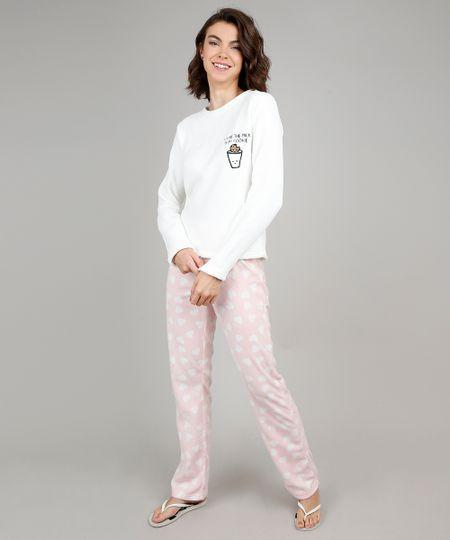 4436bc070 Pijama de Inverno Feminino Milk e Cookie com Bordado em Fleece Manga Longa  Off White - cea