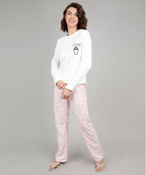 bc409588a Pijama de Inverno Feminino Milk e Cookie com Bordado em Fleece Manga ...