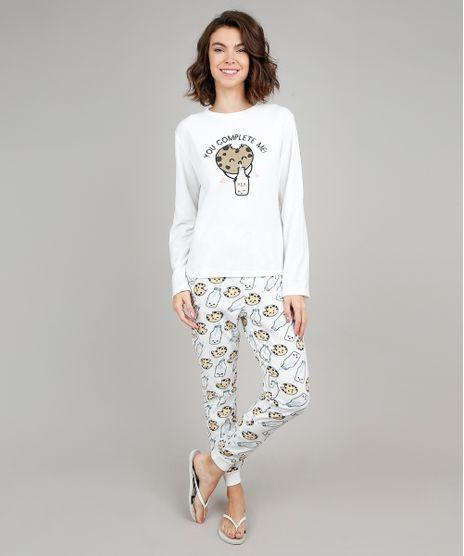 Pijama-de-Inverno-Feminino-Milk-e-Cookie-em-Fleece-Manga-Longa-Branco-9370818-Branco_1
