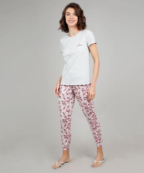 Pijama-Feminino-Canelado--Love--Manga-Curta-Cinza-Mescla-9508012-Cinza_Mescla_1