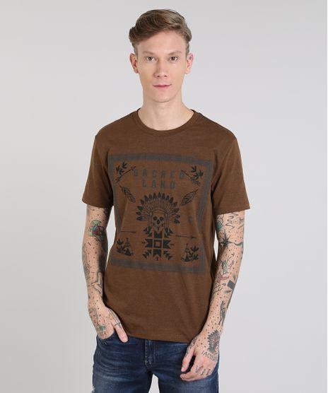 Camiseta-Masculina--Sacred-Land--Manga-Curta-Gola-Careca-Marrom-9525230-Marrom_1