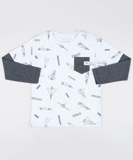 Camiseta-Infantil-Estampada-Space-com-Bolso-Manga-Curta-Cinza-Mescla-Claro-9534264-Cinza_Mescla_Claro_1