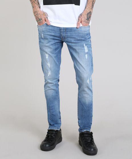 Calca-Jeans-Masculina-Slim-com-Puidos-Azul-Medio-9557905-Azul_Medio_1