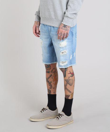 Bermuda-Jeans-Masculina-Destroyed-Reta-com-Bolsos-Azul-Claro-9578296-Azul_Claro_1