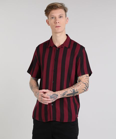 Camisa-Masculina-Listrada-Manga-Curta-Vinho-9527326-Vinho_1