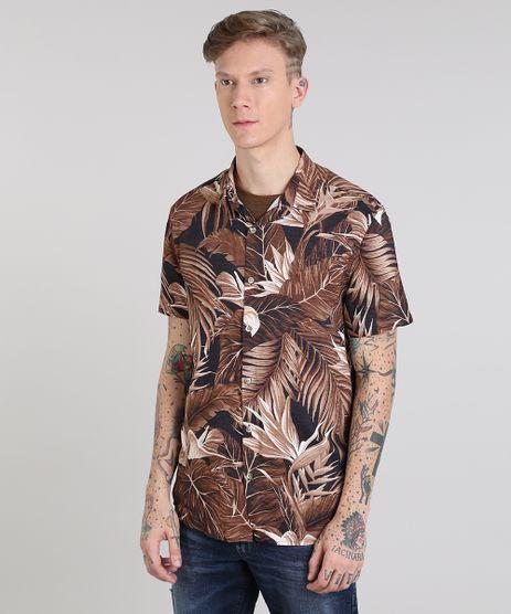 Camisa-Masculina-Estampada-de-Folhagem-Manga-Curta-Preta-9527329-Preto_1