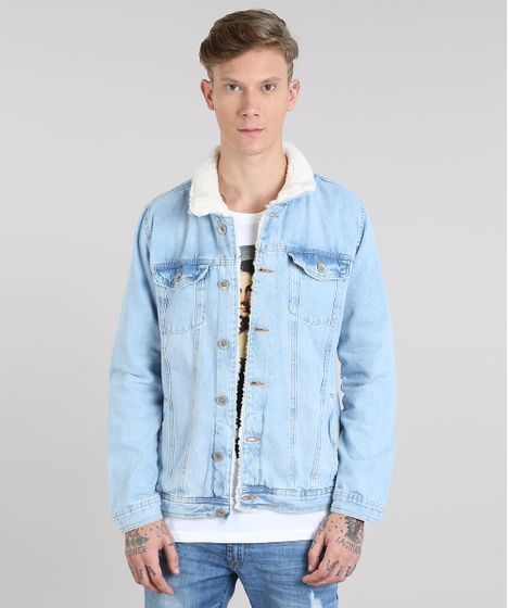 82148ca9840aa8 Jaqueta Jeans Masculina com Pelo Azul Claro