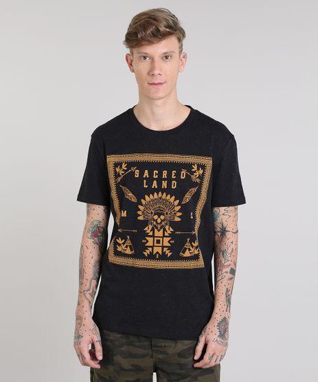 Camiseta-Masculina--Sacred-Land--Manga-Curta-Gola-Careca-Preto-9525229-Preto_1