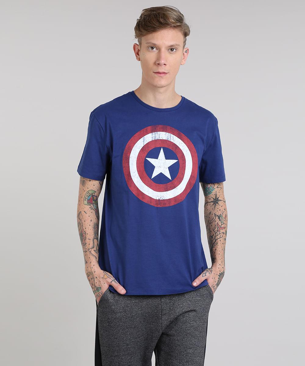 4a73f2276e Camiseta Masculina Capitão América Manga Curta Gola Careca Azul - cea