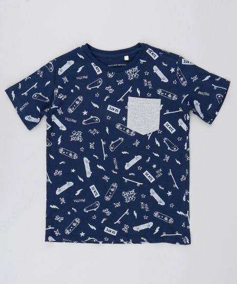 Camiseta-Infantil-Estampada-com-Bolso-Manga-Curta-Azul-Marinho-9558704-Azul_Marinho_1