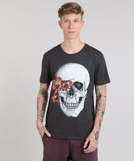 Camiseta-Masculina-com-Estampa-de-Caveira-Manga-Curta-Gola-Careca-Cinza-Mescla-Escuro-9511120-Cinza_Mescla_Escuro_1