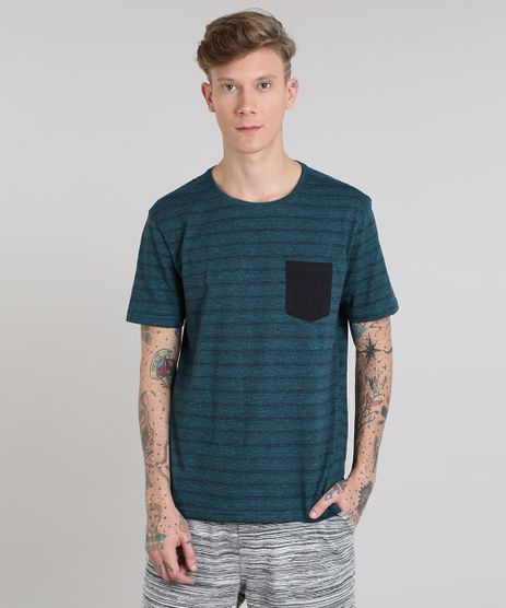 Camiseta-Masculina-Basica-Listrada-com-Bolso-Manga-Curta-Gola-Careca-Verde-9555301-Verde_1