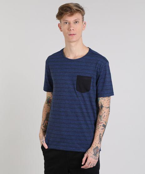 Camiseta-Masculina-Basica-Listrada-com-Bolso-Manga-Curta-Gola-Careca-Azul-Royal-9555301-Azul_Royal_1