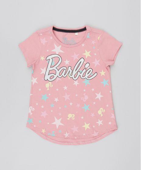 41c8585b2 Blusa-Infantil-Barbie-com-Brilho-Manga-Curta-Rosa-