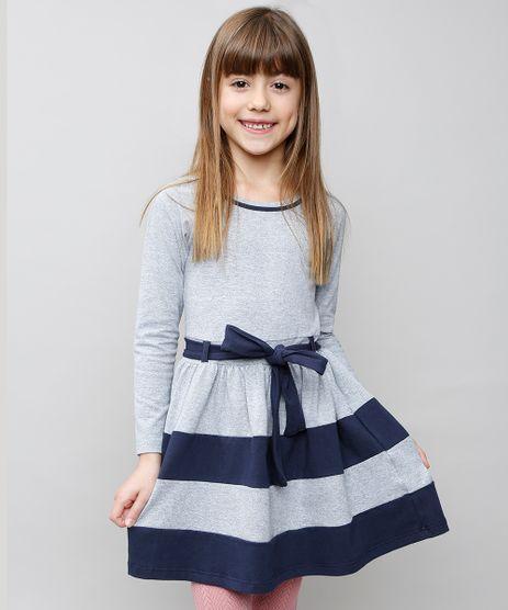 Vestido-Infantil-com-Recortes-e-Laco-Manga-Longa-Cinza-Mescla-8586013-Cinza_Mescla_1