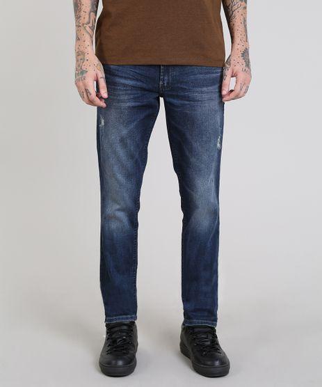Calca-Jeans-Masculina-Slim-com-Puidos-Azul-Escuro-9557904-Azul_Escuro_1