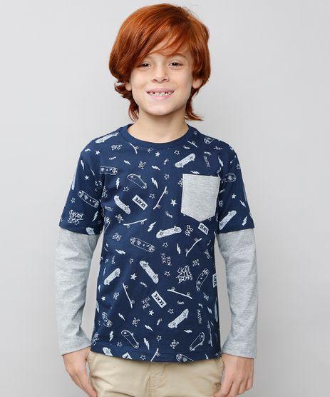 Camiseta-Infantil-Estampada-com-Bolso-Manga-Longa-Azul-Marinho-9558705-Azul_Marinho_1