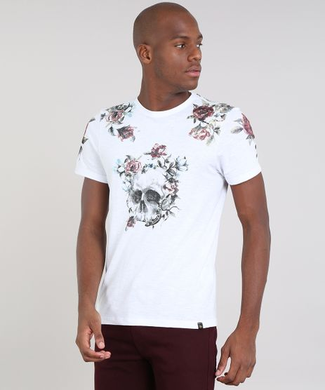 Camiseta-Masculina-Slim-Fit-com-Estampa-de-Caveira-Manga-Curta-Gola-Careca-Off-White-9524262-Off_White_1
