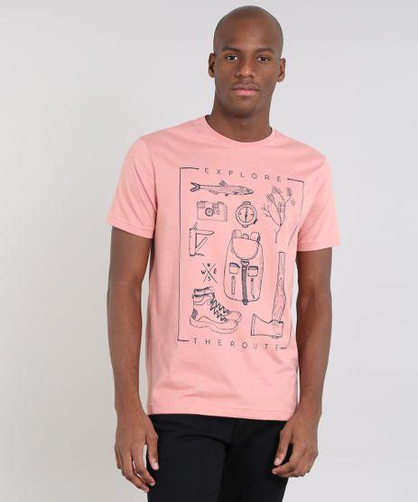 Camiseta-Masculina--Explore--Manga-Curta-Gola-Careca-Coral-9529639-Coral_1