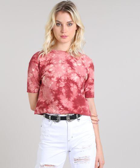 Blusa-Feminina-Cropped-Estampada-Tie-Dye-em-Moletom-Manga-Curta-Decote-Redondo-Vermelha-9554131-Vermelho_1