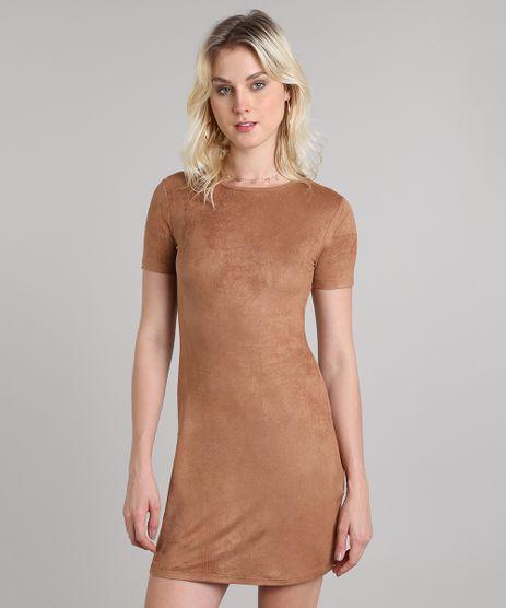 Vestido-Feminino-Curto-em-Suede-Manga-Curta-Caramelo-9569302-Caramelo_1