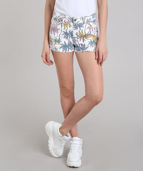 Short-de-Sarja-Feminino-Estampado-Tropical-com-Bolsos-Off-White-9586475-Off_White_1