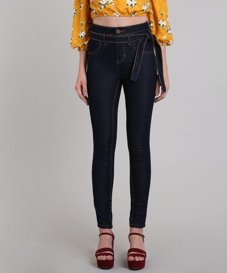 Calca-Jeans-Feminina-Sawary-Skinny-com-Faixa-para-Amarrar-Azul-Escuro-9617985-Azul_Escuro_1