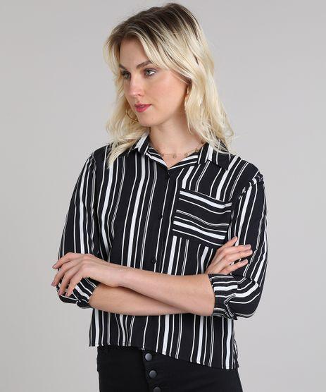 Camisa-Feminina-Cropped-Estampada-Listrada-Manga-Longa-Preta-9564561-Preto_1