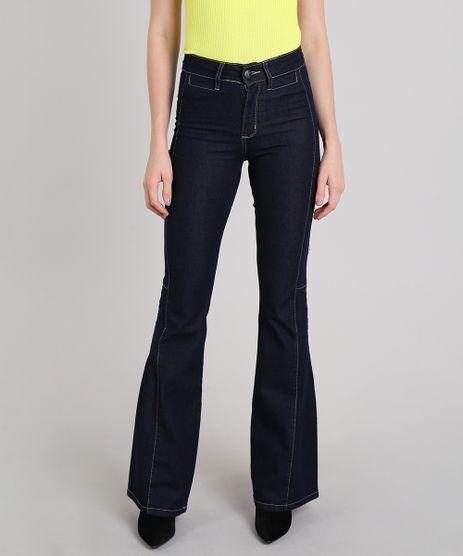 Calca-Jeans-Feminina-Sawary-Flare-com-Pespontos-Azul-Escuro-9617988-Azul_Escuro_1