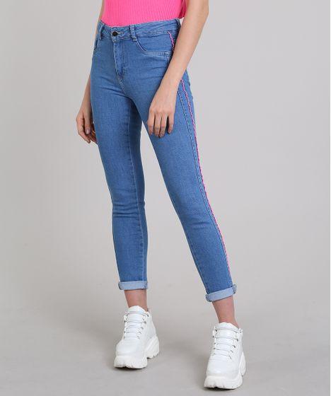 666186f6a Calça Jeans Feminina Sawary Cigarrete com Vivo Contrastante Azul ...