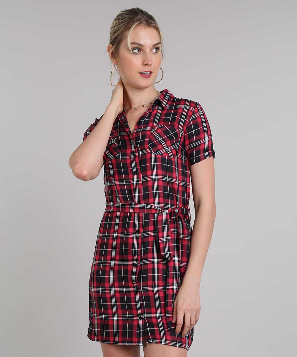 541791705a71 Vestido Chemise Feminino Curto Estampado Xadrez Manga Curta Vermelho ...