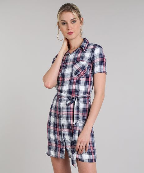 Vestido-Chemise-Feminino-Curto-Estampado-Xadrez-Manga-Curta-Azul-Marinho-9573165-Azul_Marinho_1