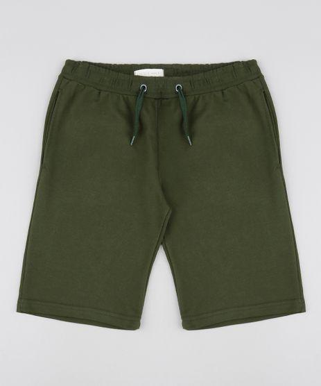Bermuda-Infantil-Basica-em-Moletom-com-Bolsos-Verde-Militar-9552521-Verde_Militar_1