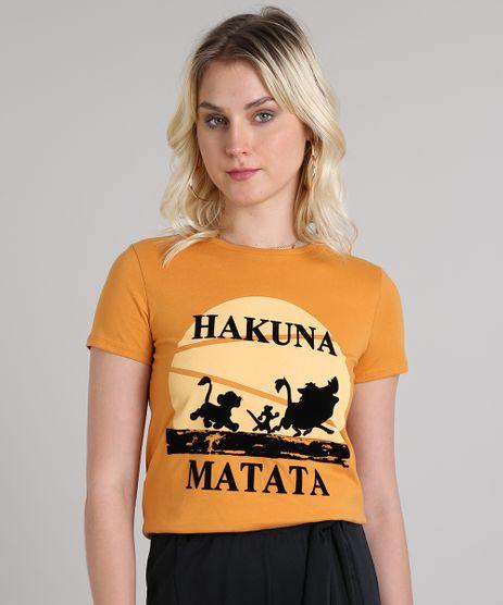 Blusa-Feminina--Hakuna-Matata--Manga-Curta-Decote-Redondo-Mostarda-9573348-Mostarda_1