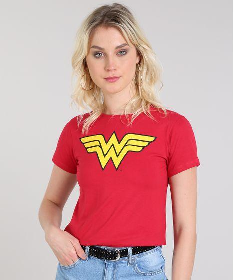 60e0f2357 Blusa Feminina Mulher Maravilha Manga Curta Decote Redondo Vermelho ...
