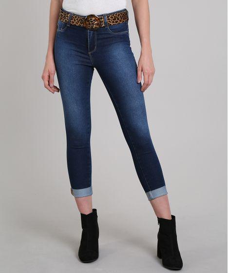 623976b76 Calça Jeans Feminina Sawary Cropped com Cinto Animal Print Azul ...