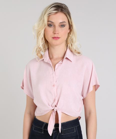 Camisa-Feminina-Cropped-com-No-Manga-Curta-Rosa-Claro-9571907-Rosa_Claro_1