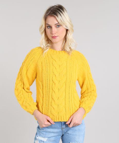 Sueter-Feminino-em-Trico-Decote-Redondo-Amarelo-9431915-Amarelo_1