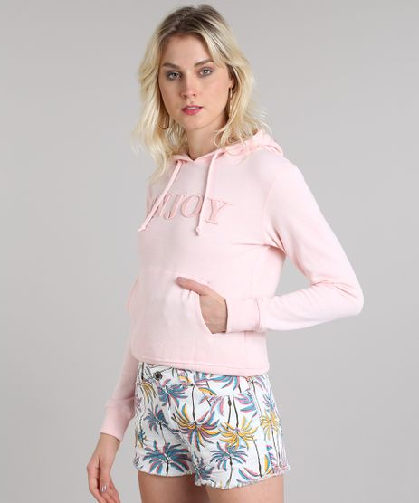 Blusao-Feminino--Enjoy--em-Moletom-com-Capuz-e-Bolso-Rose-9417153-Rose_1