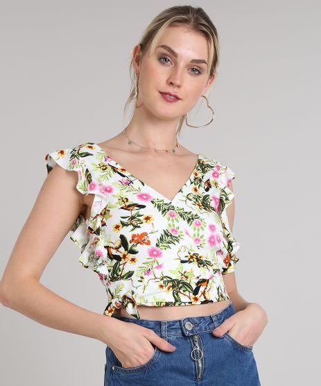 Regata-Feminina-Cropped-Transpassada-Estampada-Floral-com-Babado-Decote-V-Off-White-9440637-Off_White_1
