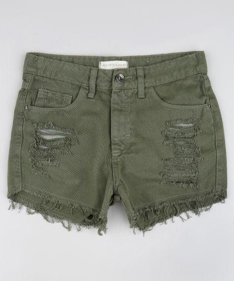 Short-de-Sarja-Infantil-Destroyed-com-Barra-Desfiada-Verde-Militar-9590659-Verde_Militar_1