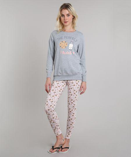 c2aae7507 Pijama de Inverno Feminino Milk e Cookie em Moletom Manga Longa Cinza  Mescla - cea