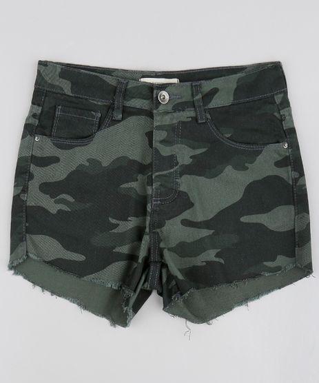 Short-de-Sarja-Infantil-Estampado-Camuflado-com-Barra-Desfiada-Verde-Militar-9482420-Verde_Militar_1