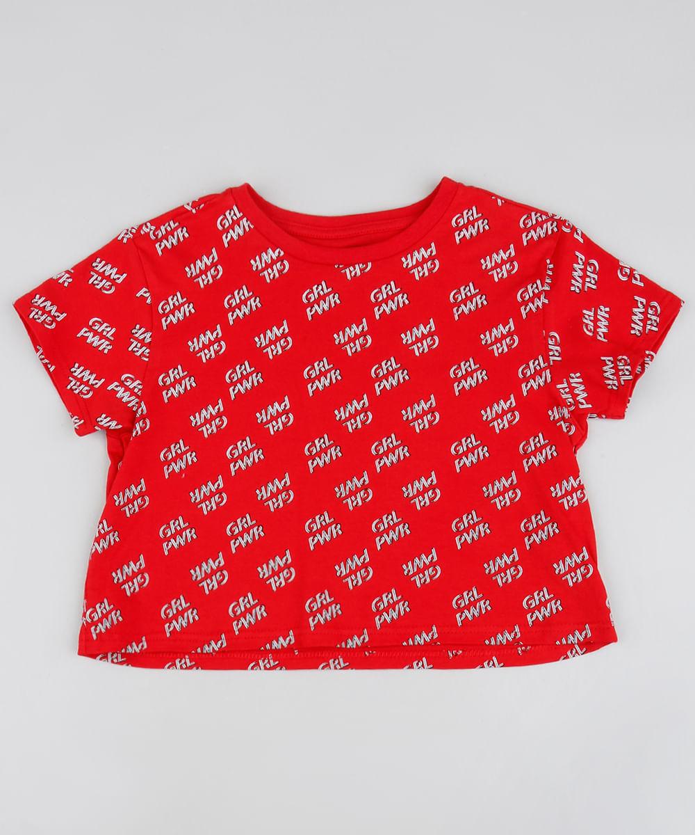 ba98d0c8f03a Blusa Infantil Cropped Estampada