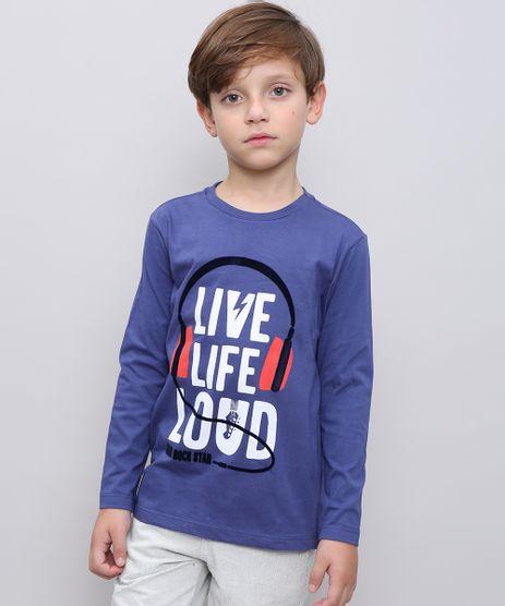 Camiseta-Infantil-com-Estampa-Flocada--Live-life-loud--Manga-Longa-Azul-9558624-Azul_1