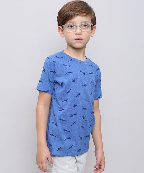 Camiseta-Infantil-Estampada-de-Tubaroes-Manga-Curta-Azul-9538294-Azul_1