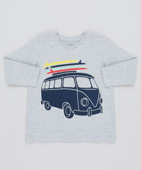 Camiseta-Infantil-Carro-com-Pranchas-Manga-Longa-Gola-Careca-Cinza-Mescla-9129040-Cinza_Mescla_1