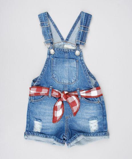 Jardineira-Jeans-Infantil-com-Puidos-e-Faixa-para-Amarrar-Azul-Medio-9575826-Azul_Medio_1