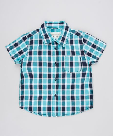 Camisa-Infantil-Estampada-Xadrez-com-Bolso-Manga-Curta-Verde-Agua-9378801-Verde_Agua_1